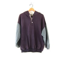 Vintage purple and gray hoodie.cotton blend sweatshirt with buttons and hood / size large L baggy oversized sporty top