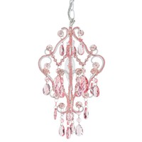 1 Light Mini Crystal-Beaded Nursery Chandelier (Pink)