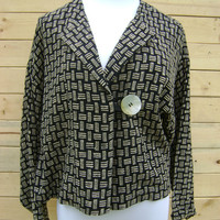 Vintage 80s Advant Garde Jacket Large Shell Button Batwing Draped Ladies Blazer Size M/L Medium Large Hippie Boho Black Beige 1980s Artwear