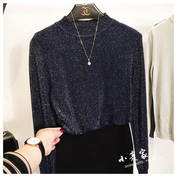 Cakucool Women Spring Knit t Shirts Long Sleeve Half High Collar Slim Tees Tops Silver Lurex Bling Korea Pullover T-shirts Lady