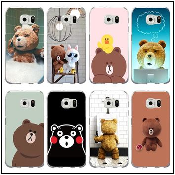 Cute Cartoon Brown Bear Ted Soft Phone Cases TPU Cover for Samsung Galaxy Note 2 3 4 5 8 S2 S3 S4 S5 Mini S6 S7 S8 S9 Edge Plus