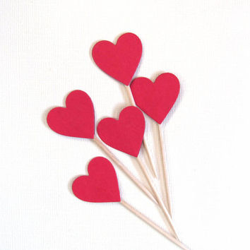 Red Heart Cupcake Toppers, Party Decor, Valentine's Day, Love, Weddings, Showers, Birthdays
