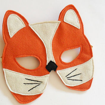 Fox Felt Children Mask Eco Friendly Kids Animal by BHBKidstyle