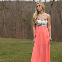 Buy Me Flowers Maxi Dress- Coral/Multi