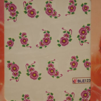 Nail art water decals Floral nail decals Water nail transfers Purple flowers