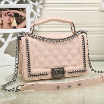 CHANEL Women Shopping Leather Metal Chain Crossbody Shoulder Bag Satchel