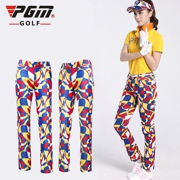 PGM  Women Golf Trousers Female Golf Multicolor Printing Pants High Quality Soft Breathable Quick Dry Sports Clothes Golf Pants