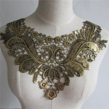 Golden Embroidered Lace Collar Neckline Applique Embroidery
