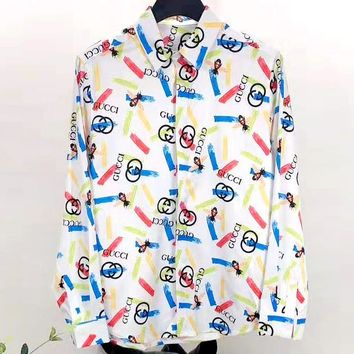 GUCCI 2019 new double G printed long sleeve shirt