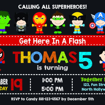 Superhero Invitation | Superhero Birthday Invitation | Superhero Invitation | Superhero Printable | Turnaround Time 12-24 hr |