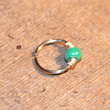 Small Cartilage Earrings, Metallic Green Beaded Nose Ring, Nose Hoop, Ear Cuff, Helix Hoop, Nose Rings, Seamless Hoop, Piercing Jewelry