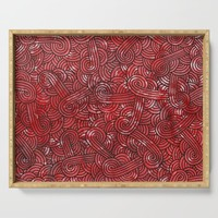 Red and black swirls doodles Serving Tray by savousepate
