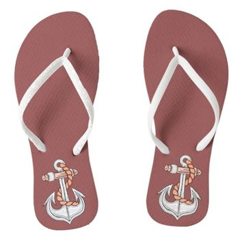 Coral Nautical Anchor Flip Flops