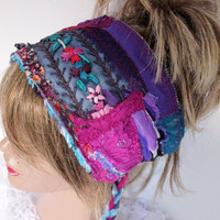 Hippie head, purple head, purple shawl goddess Dread, boho headband, Intergalactic Clothing, Hair Wrap, wrap Dreadlock, recycling headband