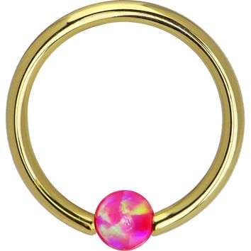 Solid 14KT Yellow Gold Brilliant Pink Synthetic Opal Captive Ring - 14 Gauge 3/8""