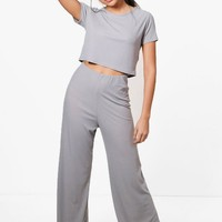 Grace Wide Leg Trouser & Top Knitted Lounge Set | Boohoo