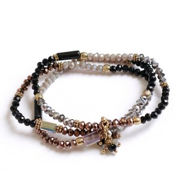 Stone Zone Beaded Bracelet Black