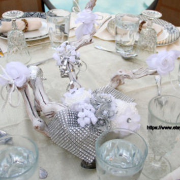 18 Inches Grape Wood Silver and White Wedding Centerpiece