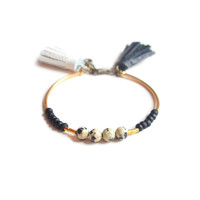 Dalmation Jasper Gemstone Beaded Bracelet with Black and White Leather Tassels | Boo and Boo Factory - Handmade Leather Jewelry