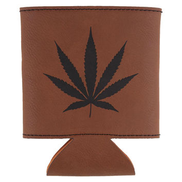 Weed Pot Leaf Etched Leatherette Can Cooler