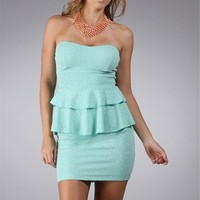 Pre-Order: Mint Strapless Peplum Dress