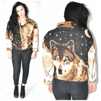 vintage WOLF coat 80s 90s boxy UNISEX ooak woven autmnal TAPESTRY jacket os