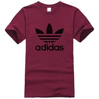 Adidas Summer New Fashion Letter Leaf Print Women Men Leisure Top T-Shirt Burgundy