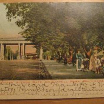 Vintage Madison Avenue Gate Druid Hill Park Baltimore Maryland Postcard