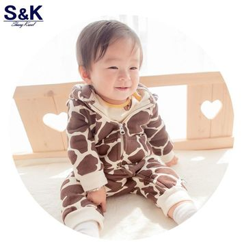 XH-058  new  2017  infant baby/kid/children cartoon long sleeve winter rompers boys/girls animal coverall  baby wear clothes