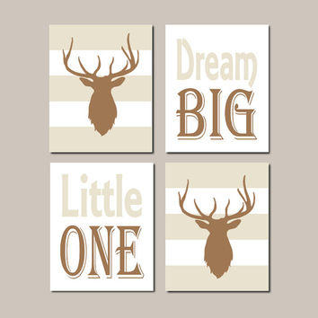 Deer Nursery Art, Baby Boy Nursery Decor, Dream Big, Rustic Nursery, Country Nursery, Set of 4 Prints Or Canvas, Boy Hunting Bedroom, Camo