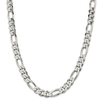 925 Sterling Silver 10.7 to 10.75mm Figaro Chain Necklace, Bracelet or Anklet