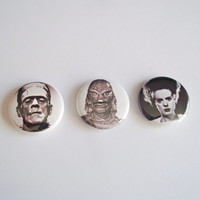 Classic Horror Buttons - Bride of Frankenstein button - Creature from the black lagoon button - Frankensteins monster button