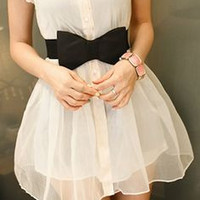 White Pearls Embellished Collar Ribbon Waist Mini Dress