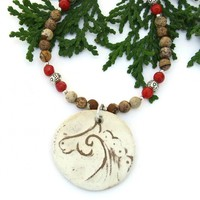 Celtic Horse Spiral Necklace, Jasper Red Coral Earthy Handmade Jewelry for Women