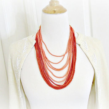Vintage Coral Bib Statement Necklace, Red Orange Glass Bead Necklace, LONG Beaded Multi-Strand Necklace, 1970s Hippie Ethnic Tribal Jewelry