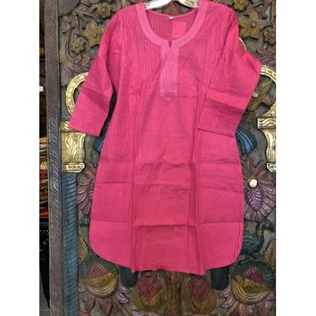 Mogul Womens Ethnic Solid Pink Tunic Long Sleeves Round Neck Simple Cotton Cover Up Kurti Dress S/M - Walmart.com