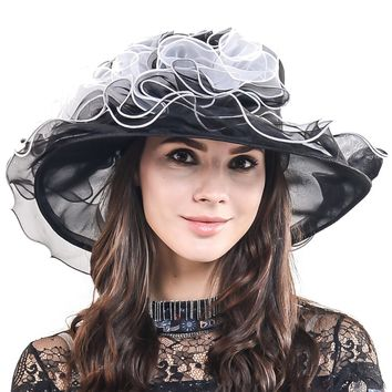 HISSHE Ladies Elegant Church Wedding Dress Hat Women Organza Kentucky Derby Large Wide Brim Ruffle Hat Women Sun Hat