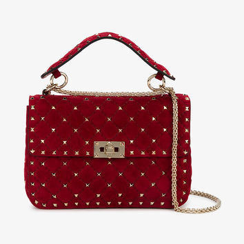MEDIUM RED SUEDE ROCKSTUD SPIKE BAG