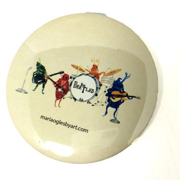 "Beetles/ Beatles Classic Rock Band Watercolor Painting Pin Back Button, Oldies Band Artist Print Pin On Button, 3"" Pinback Beatles Accessory"