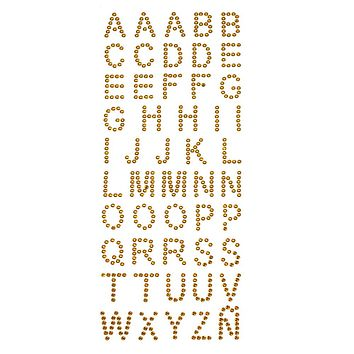 Alphabet Letters Rhinestone Stickers, 1-Inch, 50-Count, Gold