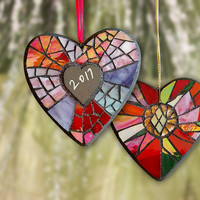 Personalized Stained Glass Heart Ornament, Red Glass Mosaic Heart Ornament, Christmas Wedding Gift