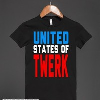 United States of TWERK (Juniors)-Female Black T-Shirt
