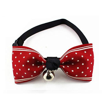 KI Store@ Adjustable Fashion Dog Cat Bow Tie Pet Collar Perfect for Party Accessories (Red with star pattern)
