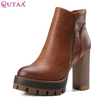 QUTAA Gray 2017 Round Toe PU Leather Western Style Women Shoes Square High Heel Ankle Boot Women Motorcycle Boot Size 34-42