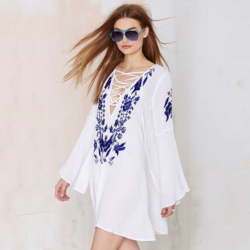 Floral Embroidered Lace Crisscross Deep V Bell Sleeve Mini Dress