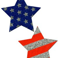 Star Nipple Pasties Silver Glitter Stars & Stripes Pastease o/s