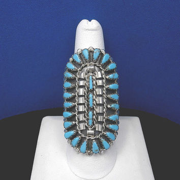 New Old Stock - Handmade Navajo LESLIE NEZ Sterling Silver and Petit Point Turquoise Cluster Ring – Size 9