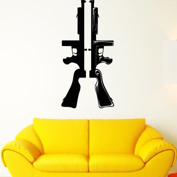 Vinyl Wall Decal Submachine Gun Army Soldier Killer Weapons Stickers Unique Gift (1977ig)