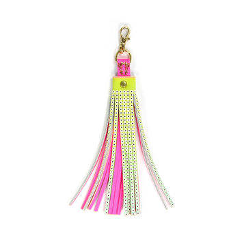 Leather Tassel Bag Charm / Key Ring - Neon Bright Eyes