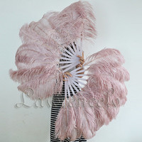 A pair Beige Wood single layer Ostrich Feather Burlesque Fan set of 2 fans